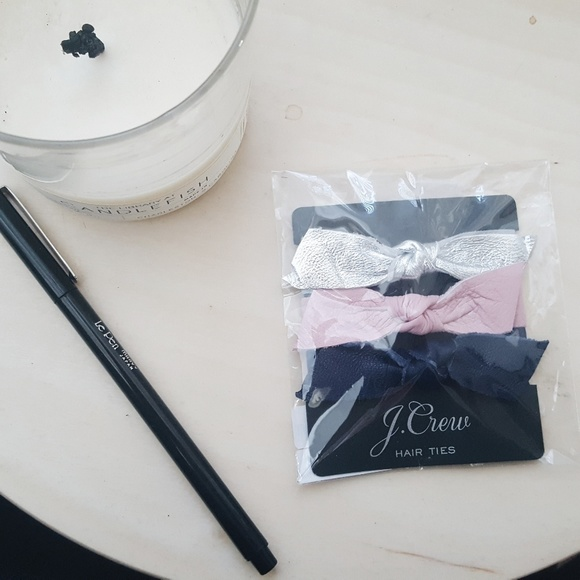NWT J. Crew Leather Bow Hair Ties - set of 3 e6c7cddcfde